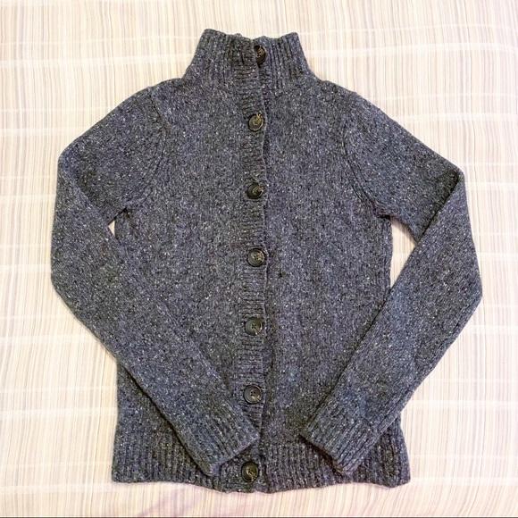 Boden Gray Wool Alpaca Button Down Knit Sweater